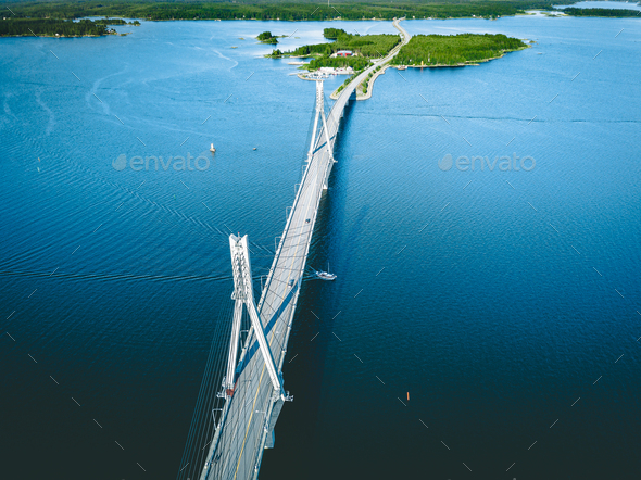 Aerial view of cable-stayed Replot Bridge, suspension bridge in Replotvägen, Korsholm, Finland - Stock Photo - Images