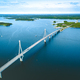 Aerial view of cable-stayed Replot Bridge, suspension bridge in Finland - PhotoDune Item for Sale