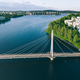 Aerial view of bridge over lake river to Campus area in Finland. - PhotoDune Item for Sale