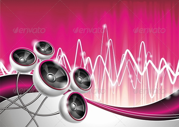Vector illustration on a musical theme with speake - Technology Conceptual
