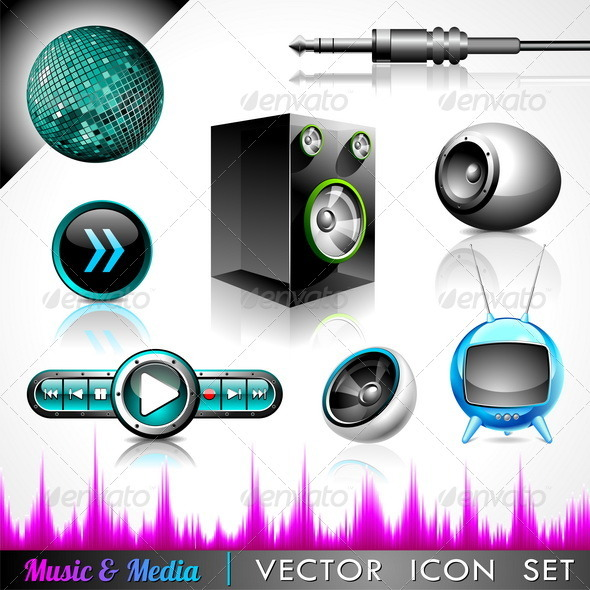 Vector icon collection on a music and media theme. - Objects Vectors