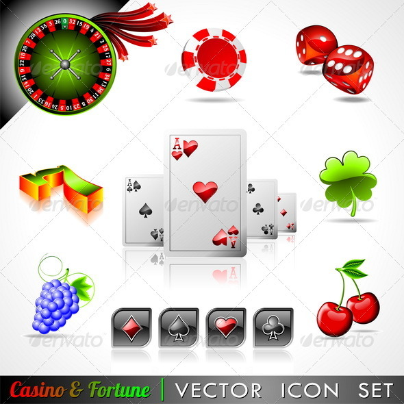 Vector icon collection on a casino and fortune the - Objects Vectors