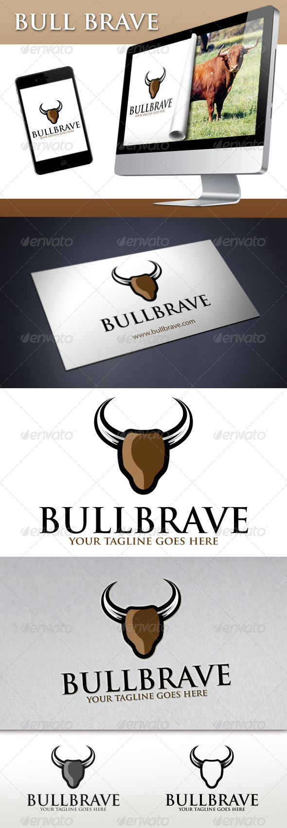 Bull Brave Logo - Animals Logo Templates