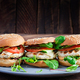 Big sandwich - hamburger burger with turkey meat,  tomato,  cucumber and lettuce. - PhotoDune Item for Sale