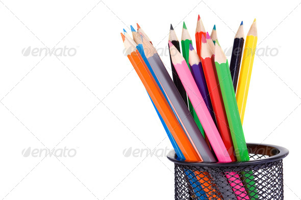 holder basket full of pencils - Stock Photo - Images