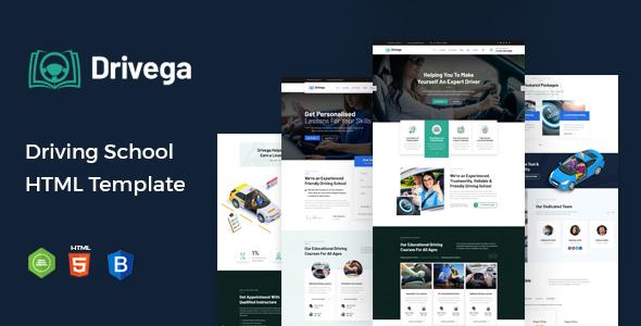 Wondrous Drivega - Driving School HTML Template