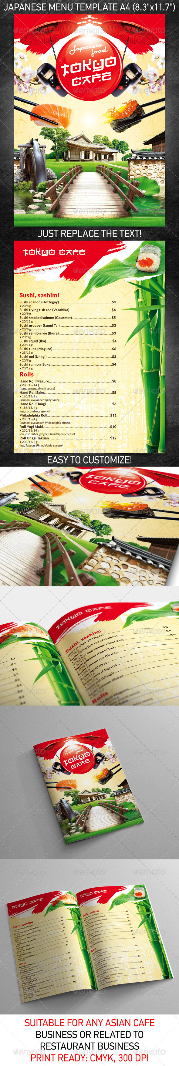 Japanese Menu Template - Food Menus Print Templates