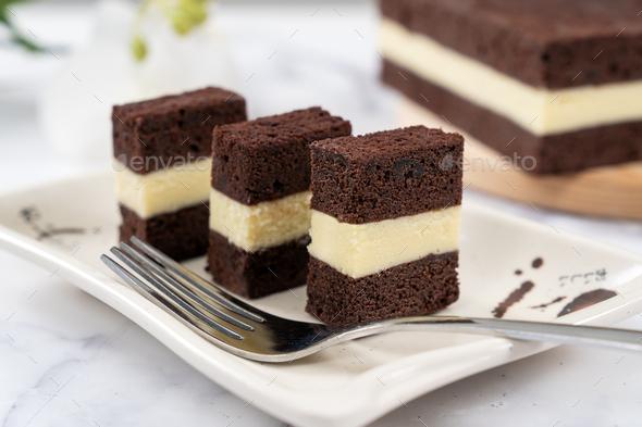 Three layer steam chocolate cheese cake - Stock Photo - Images