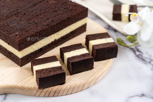 Three layer steam chocolate cheese cake - Stock Photo - Images