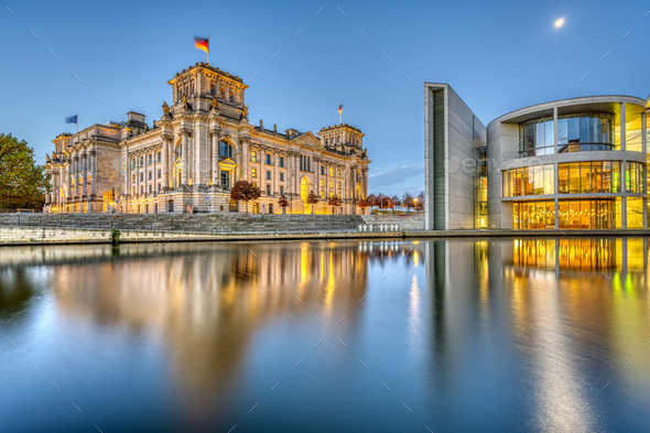 The Reichstag and part of the Paul-Loebe-Haus at the river Spree - Stock Photo - Images