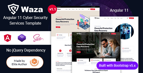 Waza - Angular 11 Cyber Security Company Template