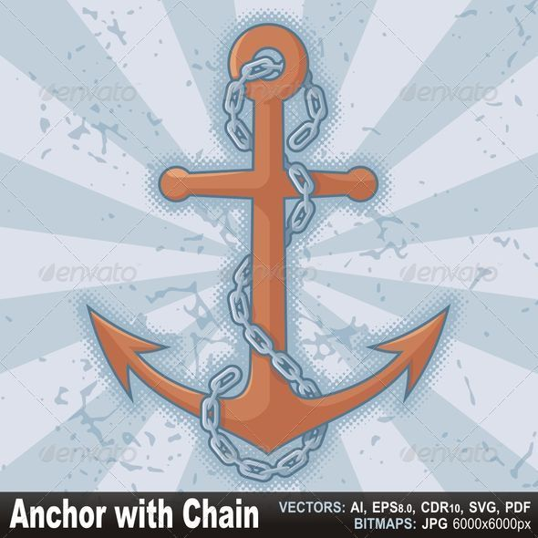 Anchor with chain on grunge - Objects Vectors