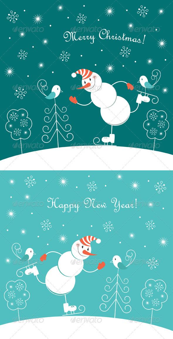 Skating Happy Snowman  - Christmas Seasons/Holidays