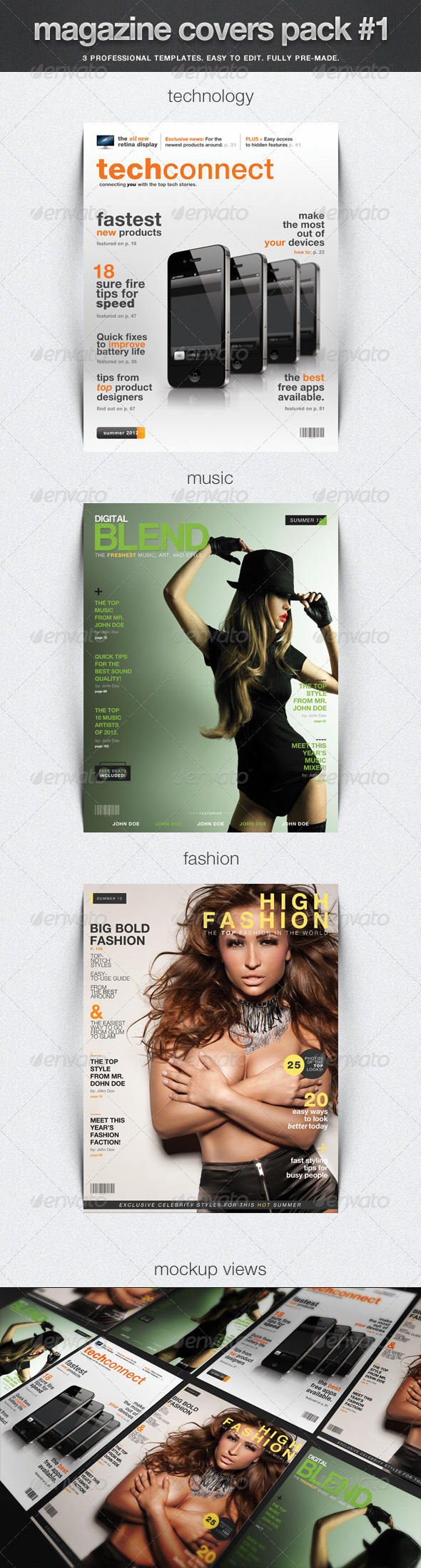 Magazine Covers Pack #1 - Magazines Print Templates