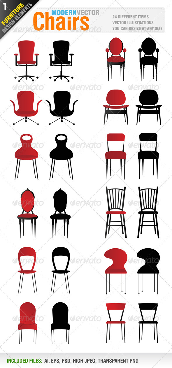 24 Modern vector chairs - Objects Vectors