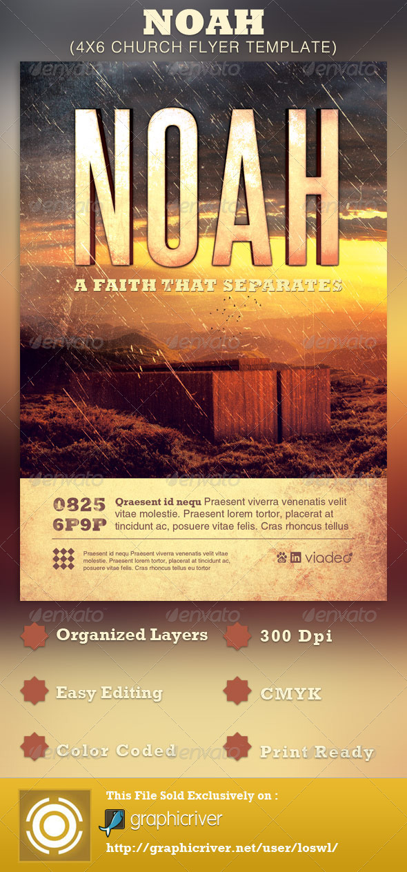 Noah Church Flyer Template By Loswl  Graphicriver