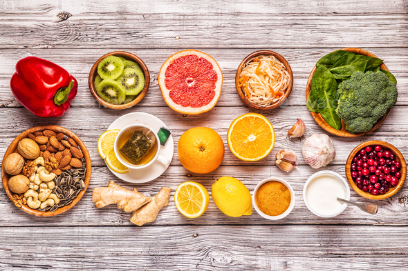 Foods that boost the Immune System - Stock Photo - Images