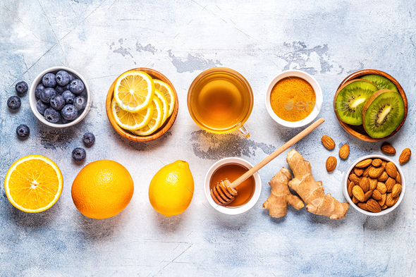 Healthy products for Immunity boosting and cold remedies - Stock Photo - Images
