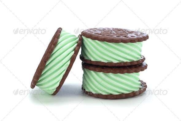 Mint ice cream sanswich - Stock Photo - Images