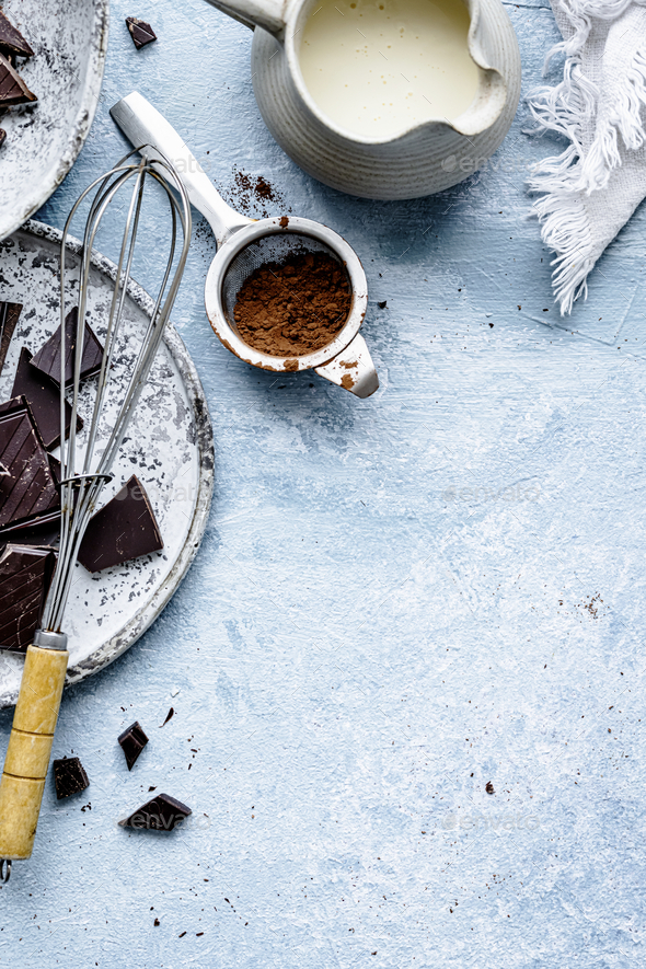 Chocolate ganache truffle ingredients in a kitchen flat lay - Stock Photo - Images