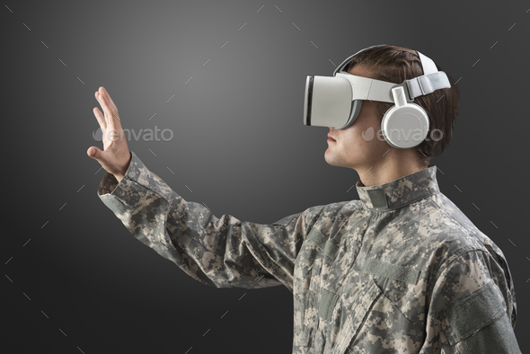 Military man with VR headset in training military technology - Stock Photo - Images