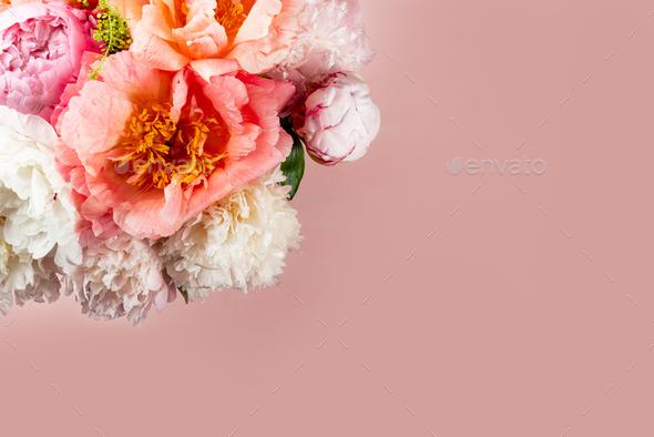 Amazing Fresh bunch of pink peonies - Stock Photo - Images