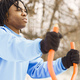 African american man doing exercise on winter day - PhotoDune Item for Sale