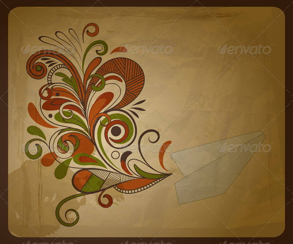 Paper Plane with Floral Swirl - Travel Conceptual