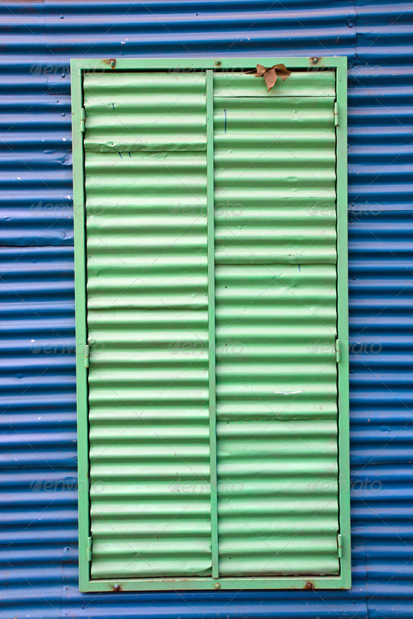 Window with shutters in La Boca - Stock Photo - Images