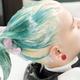Professional Beauty Salon: Hairstylist Hands Washing Green Hair of Young Woman with Shampoo in Sink - PhotoDune Item for Sale