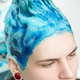 Head of Young Woman with Blue Hair While Shampooing Head in Hair Salon After Dyeing - PhotoDune Item for Sale