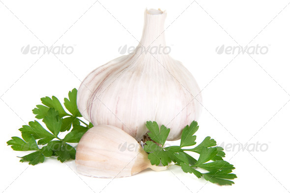 isolated garlic and green parsley - Stock Photo - Images