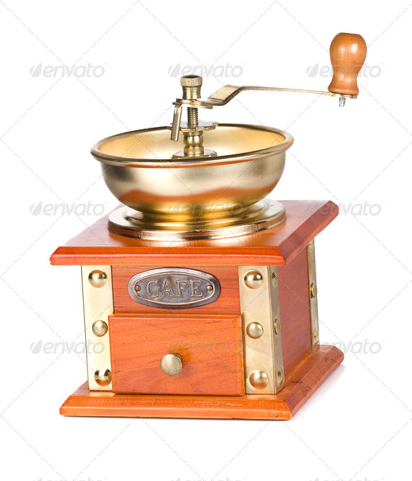 isolated coffee shining gold grinder on white - Stock Photo - Images