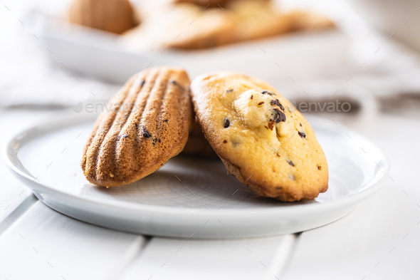 Madeleine with chocolate. Traditional French small cakes. - Stock Photo - Images