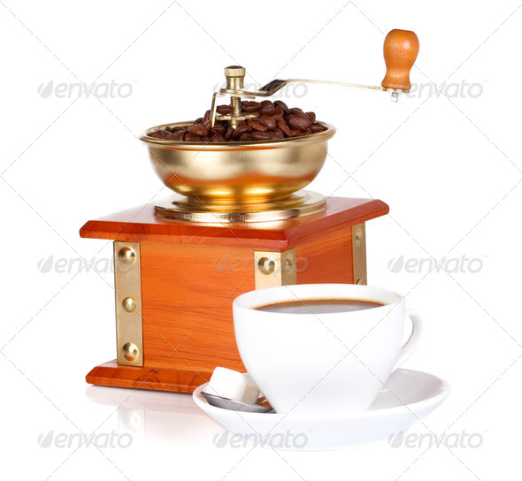 isolated coffee grinder and cup - Stock Photo - Images