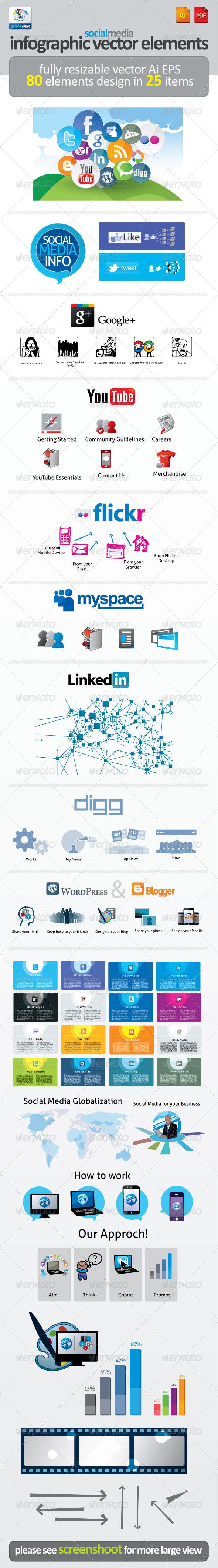 Social Media Infographic Vector Elements - Miscellaneous Vectors