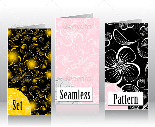 Set seamless patterns with flowers petals  - Patterns Decorative