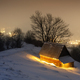 Fantastic winter landscape with glowing wooden house - PhotoDune Item for Sale