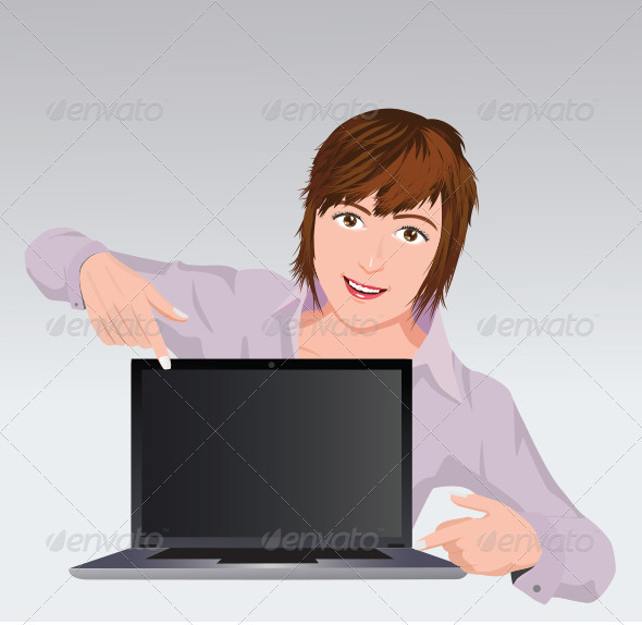 Girl with laptop - Characters Vectors