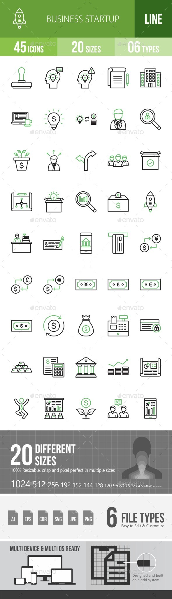 Business Startup Line Green & Black Icons