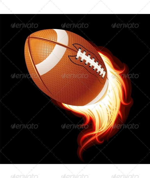 Vector flying flaming American football ball  - Sports/Activity Conceptual