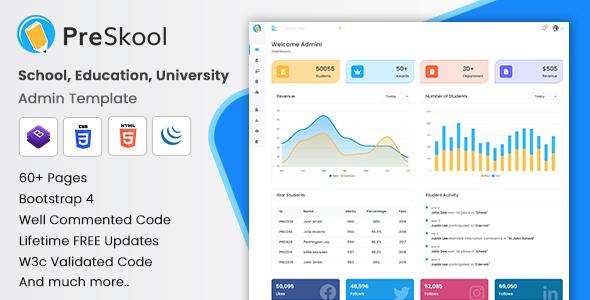 PreSkool – School, Education, University Admin Template (HTML + Laravel + Vuejs + Angular + Reactjs)