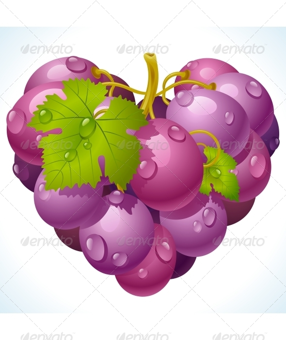 Bunch of grapes in the shape of heart - Food Objects