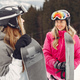 Girls snowboarding in the mountains with the snowboard - PhotoDune Item for Sale