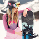 Girl snowboarding in the mountains with the snowboard - PhotoDune Item for Sale