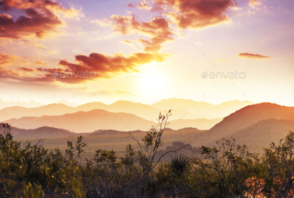 Mountains on sunset - Stock Photo - Images