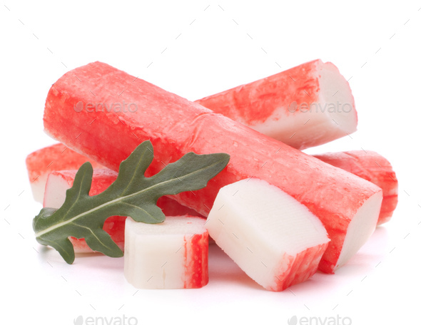 Crab sticks group and rucola leaf - Stock Photo - Images