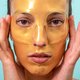 Beautiful woman using facial collagen gel skincare mask treatment - PhotoDune Item for Sale