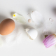 Easter floral background, various eggs end egg shell and tulips - PhotoDune Item for Sale