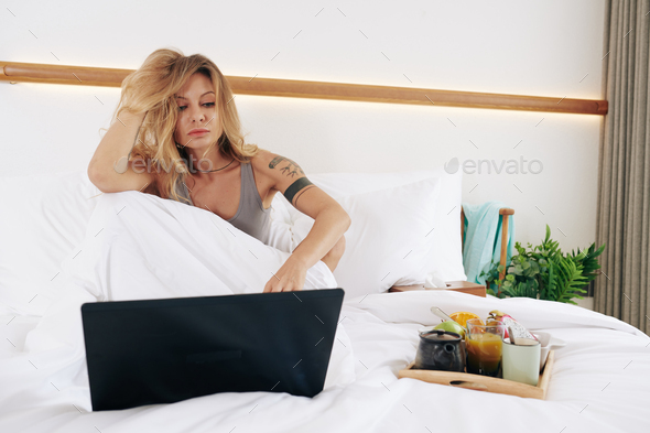 Sensual woman in bed - Stock Photo - Images